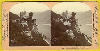 Rheinstein Castle (GERMANY~MAGNIFICENT RHEINSTEIN CASTLE & RIVER RHINE~1895 B.L. SINGLEY STEREOVIEW )
