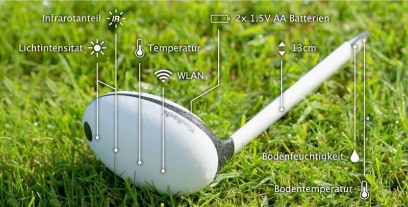 Was aussieht wie ein Golfschläger, ist der Koubachi Pflanzensensor, der die Bodenfeuchtigkeit misst. (© www.siio.de)