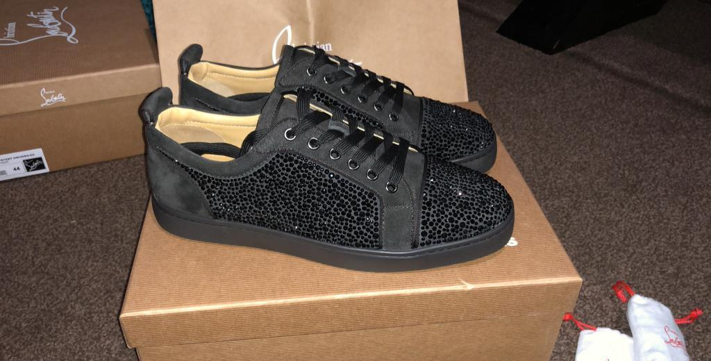 9e56c3d8ac1 Christian Louboutin Grey suede all over strass diamond low tops trainers  (Red bottoms