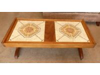 Vintage / Retro Danish Teak Tiled Coffee Table On casters H19in/49cmD19in/49cmW41in/104cm