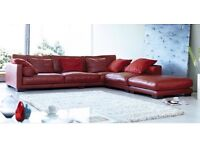 DFS California Red leather corner sofa