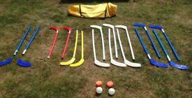 Eurohoc Hockey set sticks, balls, pucks and carry bag
