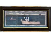 Framed and Glazed Fishing Boat Themed Print - 'Janty'.