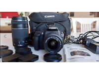 CANON EOS 1200D DSLR 18MP CAMERA 18-55mm+75-300mm Telephoto Zoom TWIN LENS KIT carry bag and remote