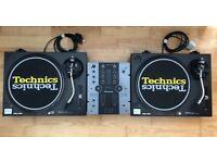 2 Technics SL-1210MK2 Turntables & Pioneer DJM-250 Mixer