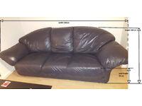 Black leather sofa 3-seater