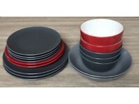 Dinner set: Plates, Side plates, Bowls, Glasses, Carafe - NG
