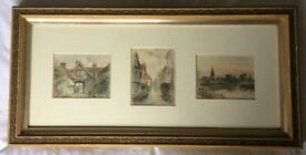 George F Heys watercolour artist pictures of Canterbury, Kent