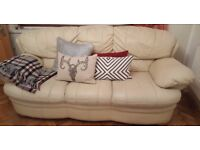 Large x 3/4-seater sofa cream LEATHER settee couch used