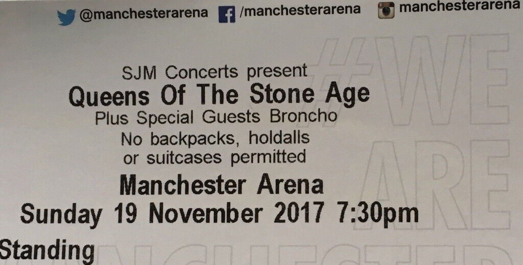 QUEENS OF THE STONE AGE MANCHESTER 19TH NOVEMBER - X2 STANDING TICKETS