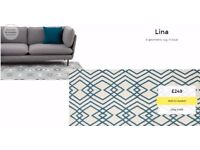 New! Made. com LINA Rug in Teal 100% WOOL 160 x 230 cm Nottingham