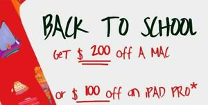 $200 OFF ON ANY NEW MAC & $100 OFF ON IPAD PRO'S!! BACK TO SCHOOL PROMOTION! - **LIMITED TIME**