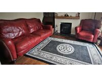 Red Leather vintage style Settee and Chair