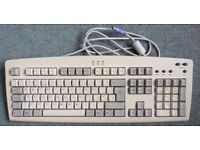 VINTAGE FULL SIZE WIRED COMPUTER KEYBOARD, WITH PURPLE 6 PIN CONNECTOR