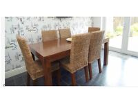 Next Oak Dining Table + 6 Rattan and Oak chairs execellent condition, sale due to house move.