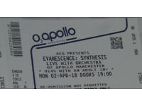 1 X Evanescence Synthesis Tour Ticket O2 Apollo Manchester 02/04/18! *SOLD OUT*