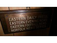 Old bronze & enamel EDP , EVENING NEWS sign local interest