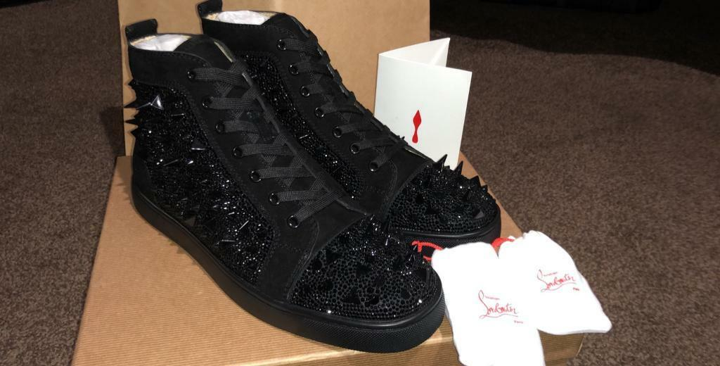 541283b6d2a Christian Louboutin Black diamond strass suede high tops with studs  trainers (Red bottoms