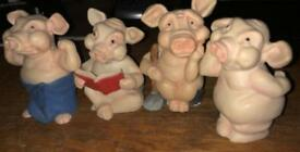 Collectible pig ornaments.