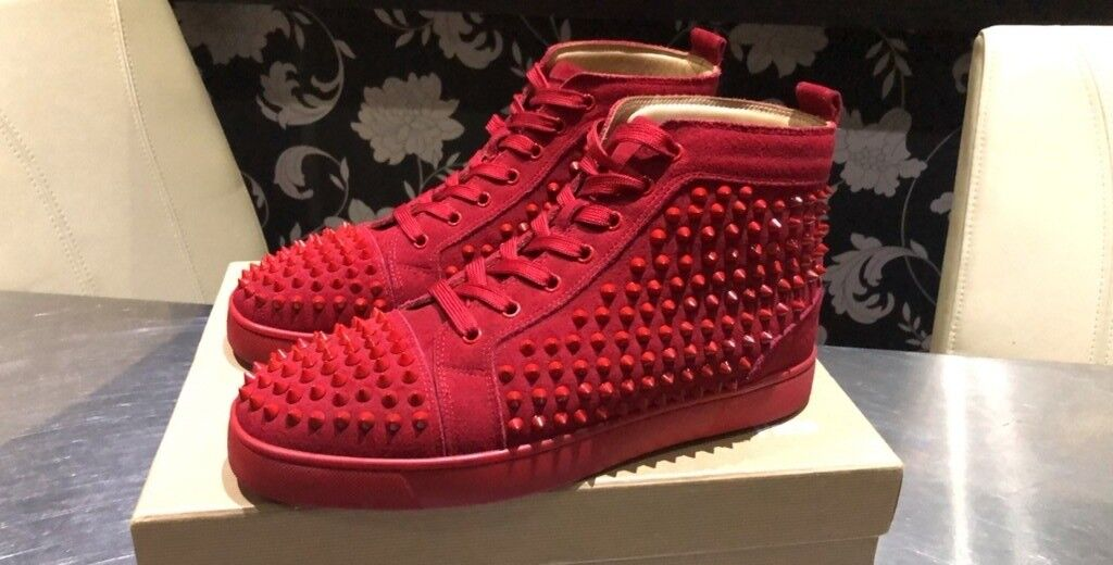 newest 308c2 b6fb2 BARGAIN CHRISTIAN LOUBOUTIN HIGH TOP BLACK SUEDE RED BOTTOMS SPIKES SIZE 42  8 9 | in Wembley, London | Gumtree