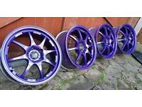 Genuine Rota Rev 17x7.5J 5x114.3 alloy wheels cadburys purple Honda Mitsubishi Nissan Toyota jap jdm
