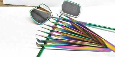 Russian Volume Tweezers Set of 5 Eyelash Extension Tweezers Multi with 2 mirrors
