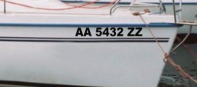 2 Boat WATERCRAFT ID Registration Number hull vessel yacht vinyl Sticker Decal