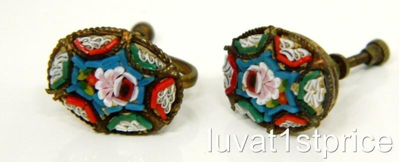 Antique vintage Italy Micro Mosaic Floral Multi Color Inlay Screw Back Earrings