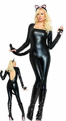 NEW Leg Avenue 83623 Lame Keyhole Cat Body Suit USA Cosplay Costume M, L