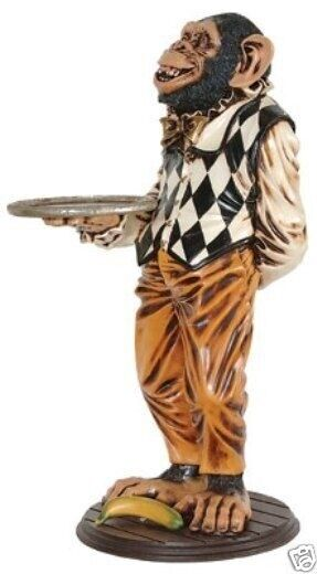 Butler Statue - Monkey Butler Statue - Monkey Holding a Serving Tray - 3 ft.