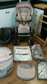 Silvercross Linear Deluxe travel system, pram, pushchair, car seat and accessories