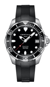 Certina DS Action Black Dial Black Rubber Mens Watch Quartz
