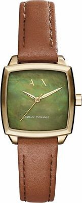 New Armani Exchange Women's Dress Brown Leather Watch AX5451
