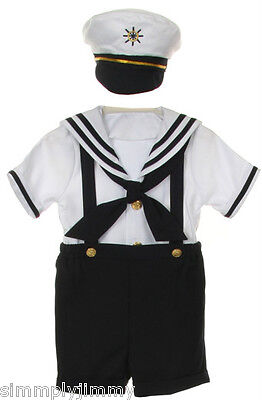 Toddler & Baby Boy Sailors Navy Short Suit Satin Wedding Party Easter 0-24m-4t