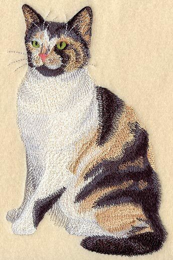 Large Embroidered Zippered Tote - Calico Cat C7956