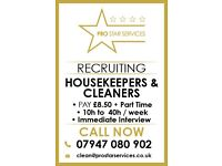 RECRUITING HOUSEKEEPERS & CLEANERS