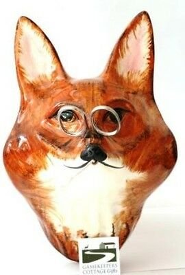 Fox Mask Face Babbacombe Pottery China String Holder Hand Painted Hunting Gift for sale  Shipping to Ireland