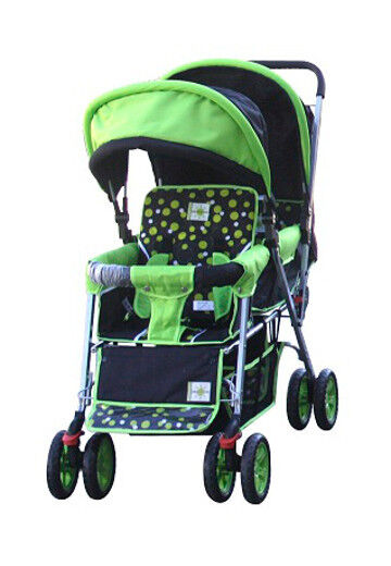 DOUBLE Stroller GREEN  Baby Strollers BEBELOVE 2 Seats Multiple Multi Twin Child