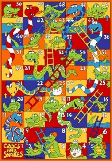 CROCKS & SNAKES NUMBER KIDS EDUCATIONAL 5 X 7 GEL RUG