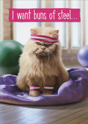 Avanti Cranky Exercise Cat Funny Just For Fun Card