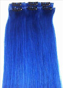 Clip in Human Hair Extensions Blue
