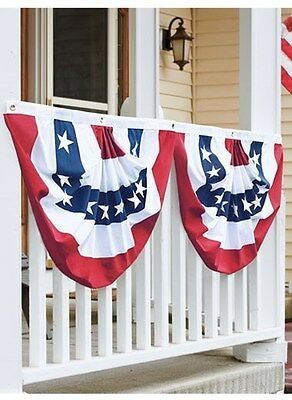 "PATRIOTIC USA AMERICAN BUNTING SET OF 2 - SWAG FLAG 36""x 18"" SEWN July 4th"