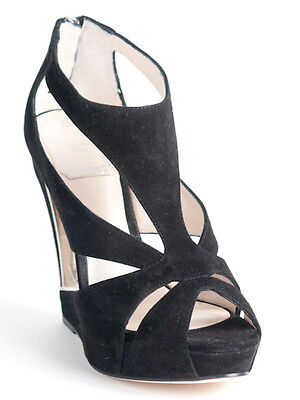 New  Christian Dior Cutout Wedge Black Suede Sandals Size 36 US 6