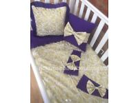 Purple Gold damask girls cot bedding unique