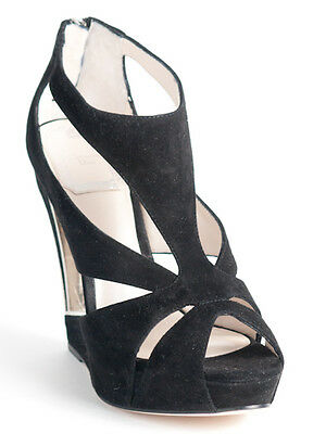 New  Christian Dior Cutout Wedge Black Suede Sandals 36.5 US 6.5