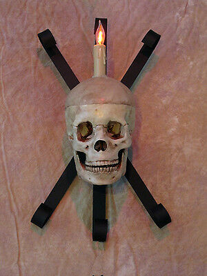 Skull Wall Sconce no LED eyes Halloween Human - No Eyes Halloween