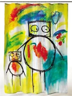 Loving Moments Children Crayon Drawing Graffiti Bathroom Shower Curtain (Shower Crayons)