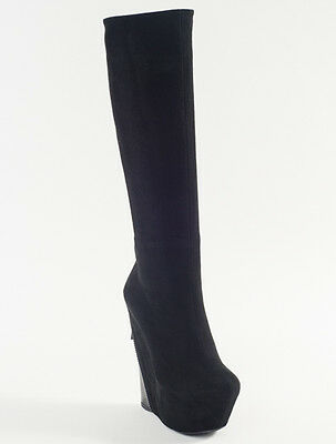 New Gianmarco Lorenzi Black Suede Sexy Wedge Fashion Boots Size 36 US 6