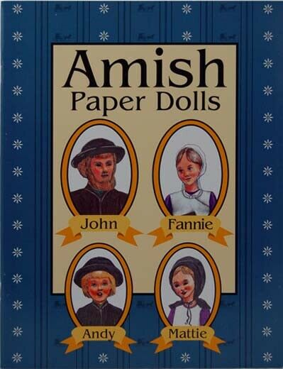 """Amish Paper Dolls Book 5-1/2"""" x 8-1/2"""" 10 pages 4 Dolls in color USA Made"""