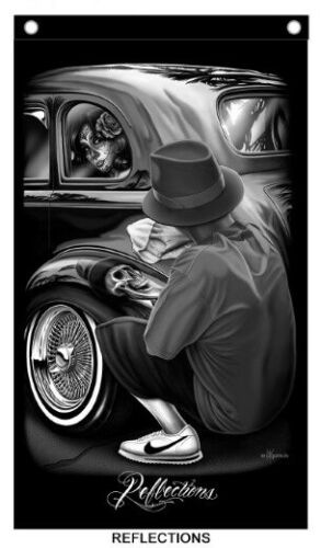 David Gonzales Art Chicano Lowrider Cholo 1939 Chevy Reflection Quality Banner